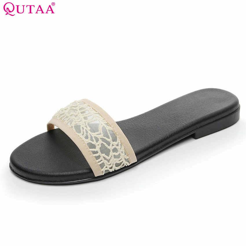 52957e12a QUTAA 2018 Women Sandals Slip on All Match Fashion Women Shoes Casual  Simple Summer Shoes Pu