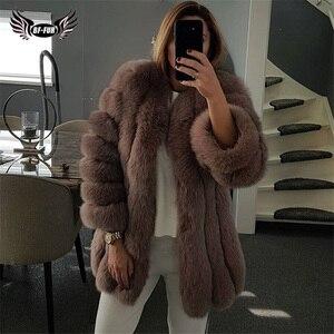 Image 3 - BFFUR 2020 lüks bayan kışlık mont doğal kürk moda mavi tilki kürk mantolar kadınlar için gerçek Arctic Fox kalın sıcak tüm cilt