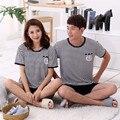 Os Amantes de verão Sleepwear de Manga Curta calças de Salão Pijamas Casal Mens Conjuntos De Pijama Bonito dos desenhos animados da Mulher ternos desgaste de lazer