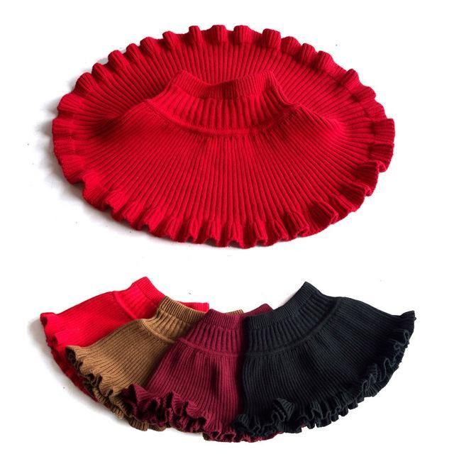 2016 New Winter Cute Solid Child Ruffles High Stretch Knit Skirt Girls A-Line Mini Half-Length Princess Skirt