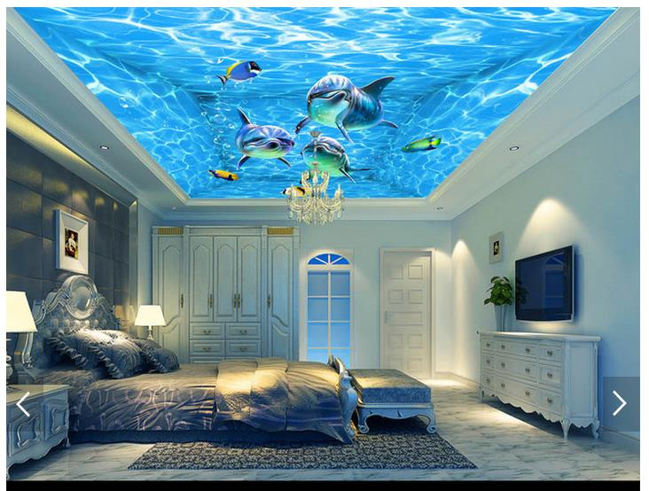 3d photo wallpaper custom 3d ceiling wallpaper murals blue ocean water dolphin theme ceiling. Black Bedroom Furniture Sets. Home Design Ideas