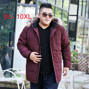 Woxingwosu winter men's hooded down coat, real raccoon fur collar,fat fatty big code down jacket,size XL to 6xl 7xl 8xl 9xl 10xl