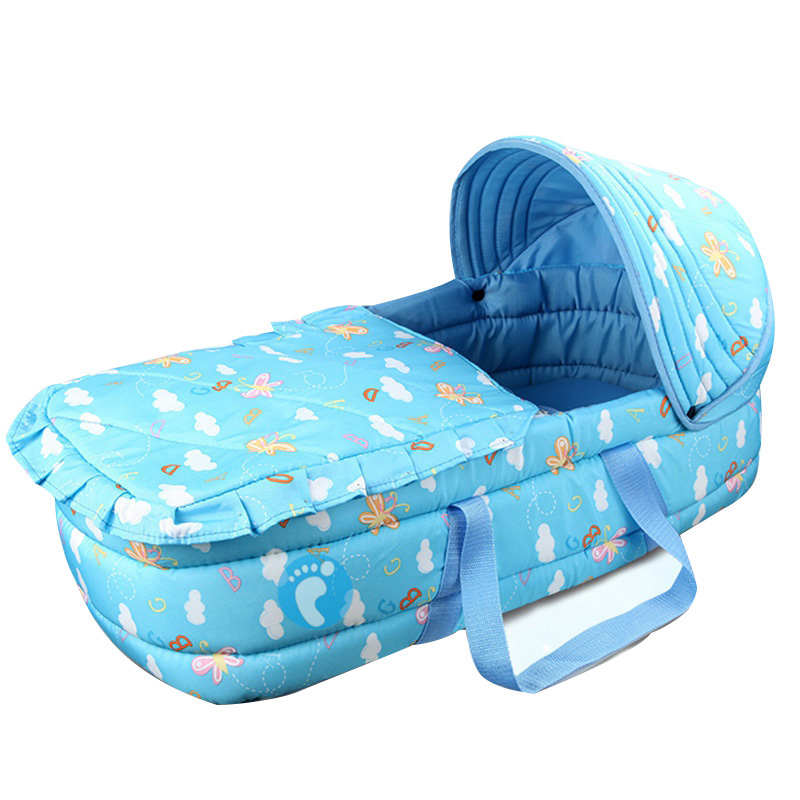 Portable baby cotton bassinet with mosquito net infant cribs for easy travel