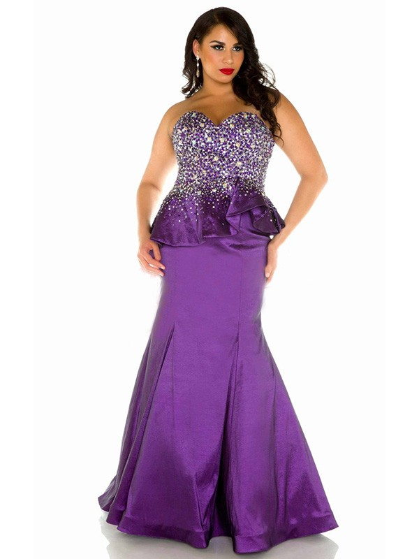 2016 Purple Mermaid Sweetheart Satin Plus Size Prom