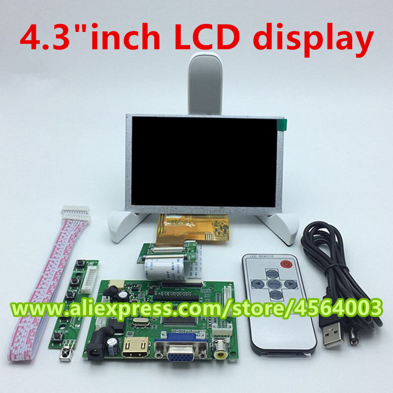 4.3 Inch High Resolution 480*272 40pin LCD Controller Driver Board TTL Display Monitor HDMI+VGA+2AV Output For Raspberry Pi