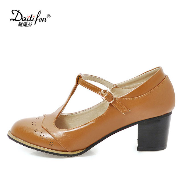 2018 Womens pu leather High chunky Heel T Bar Strap Round Toe Roma Pumps Shoes