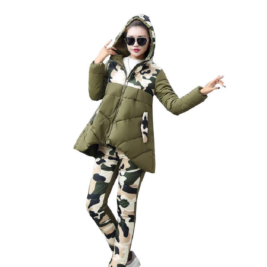 2017 New Winter down cotton Jacket Suit women Warm Fashion Parka Coat + Pants 2 Piece Set Woman s922