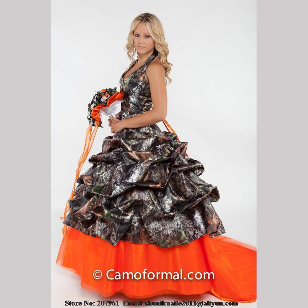 Orange Camo Wedding Dresses 2016 Halter Camouflage Bridal
