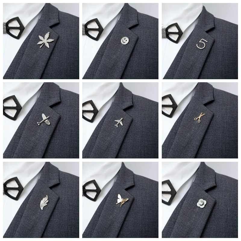 Airplane Men Suit Brooch Pin for Man Jewelry Brooches Alloy Aircraft Women Pins Smiley face Maple leaf Number 5 butterfly Brooch