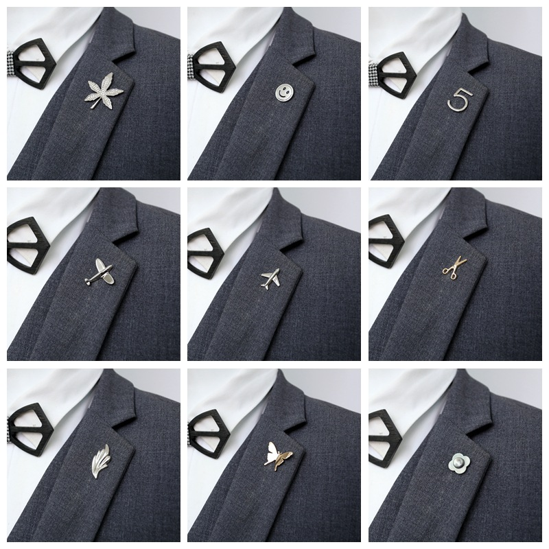 Airplane Men Suit Brooch Pin for Man Jewelry Brooches Alloy Aircraft Women Pins Smiley face Maple leaf Number 5 butterfly Brooch Углеродное волокно