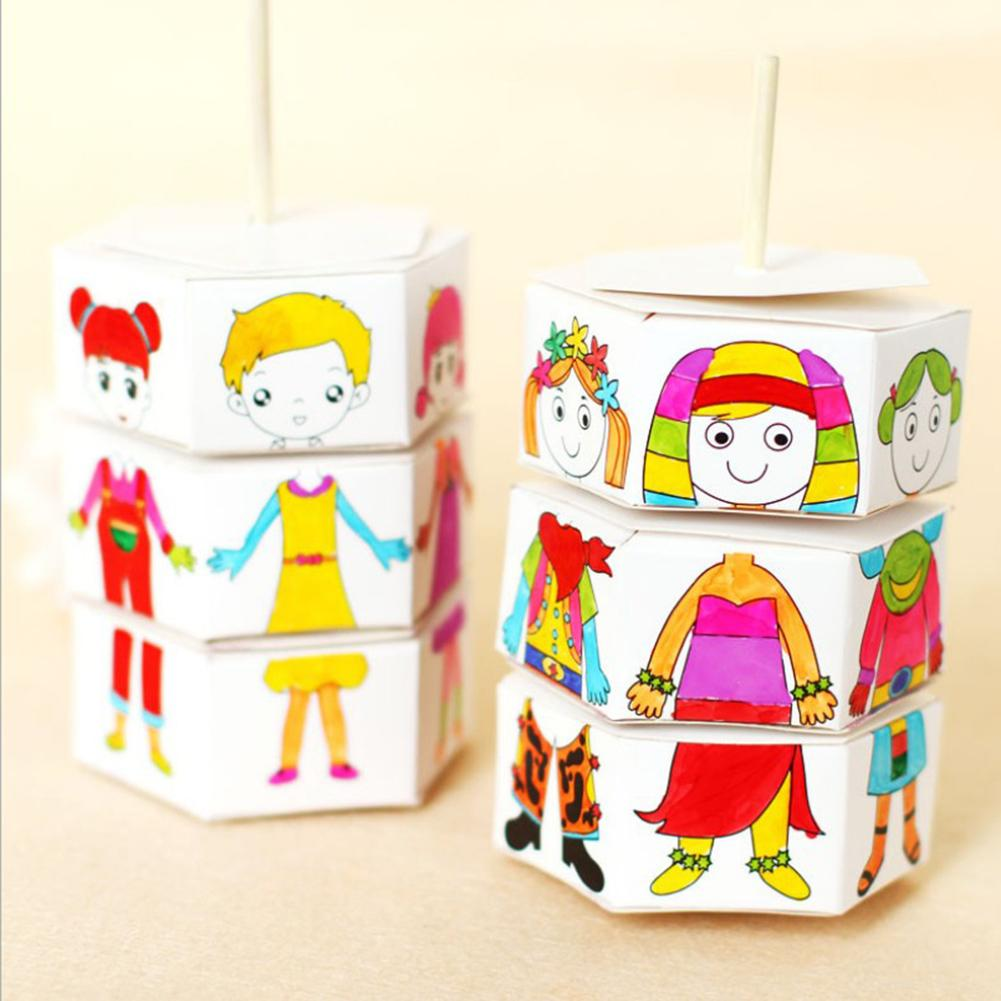 Children Rotating Dress Up Watercolor DIY Handmade Material Pack Craft Toy Painted Coloring Filling Clothes Graffiti Kids Toys