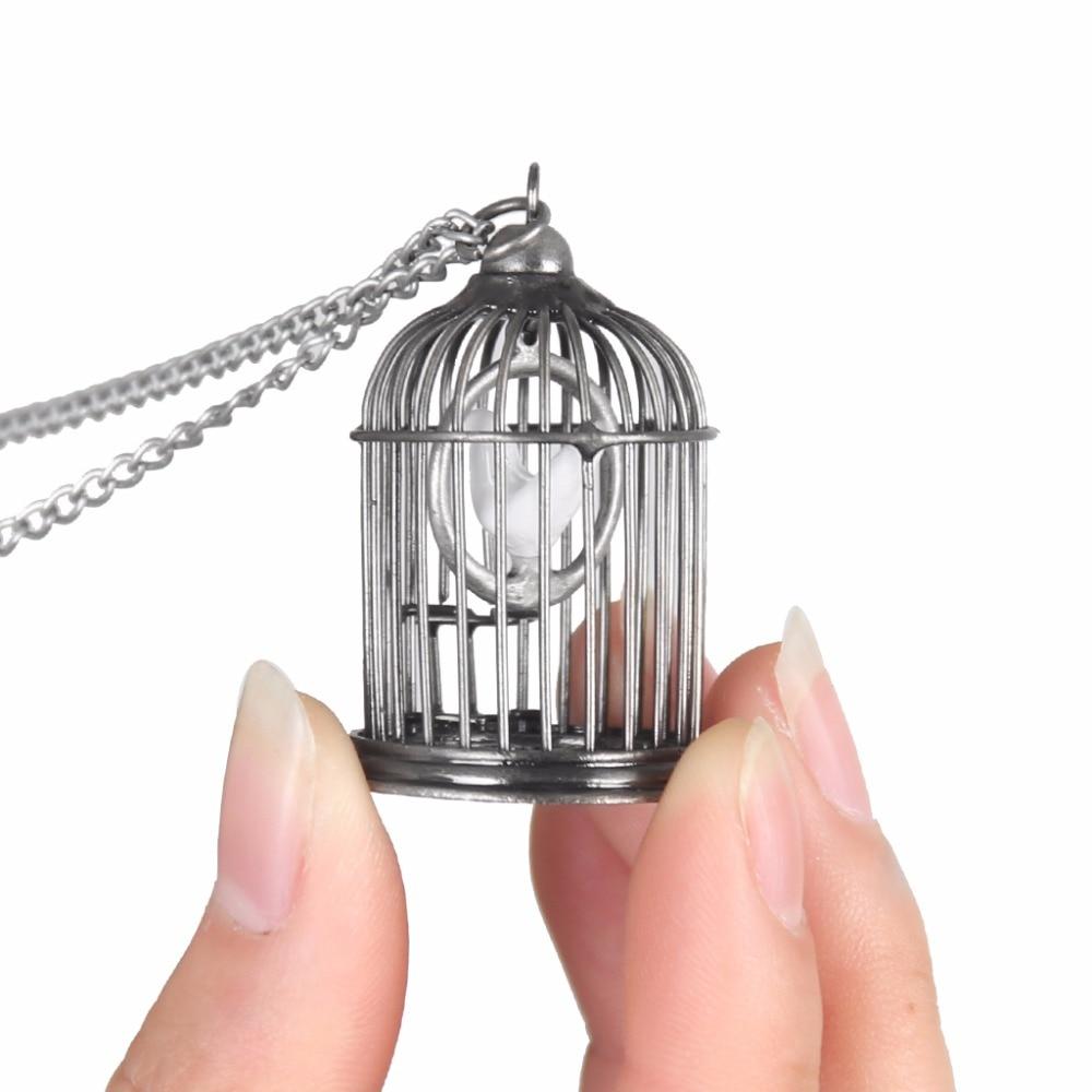 2018 Women Long Birdcage Pendants Necklaces Chain Men Bird Antique Silver Pendants Necklaces Metal Necklaces