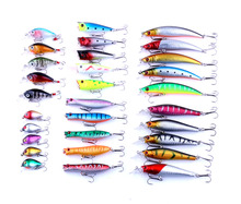 30pcs fishing lures set artificial wobbler minnow crankbaits top water popper kit pesca tackles