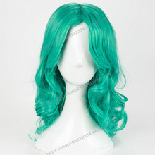 Sailor Moon Kaiou Michiru Green Wig Cosplay Halloween Role Play Facial Hair