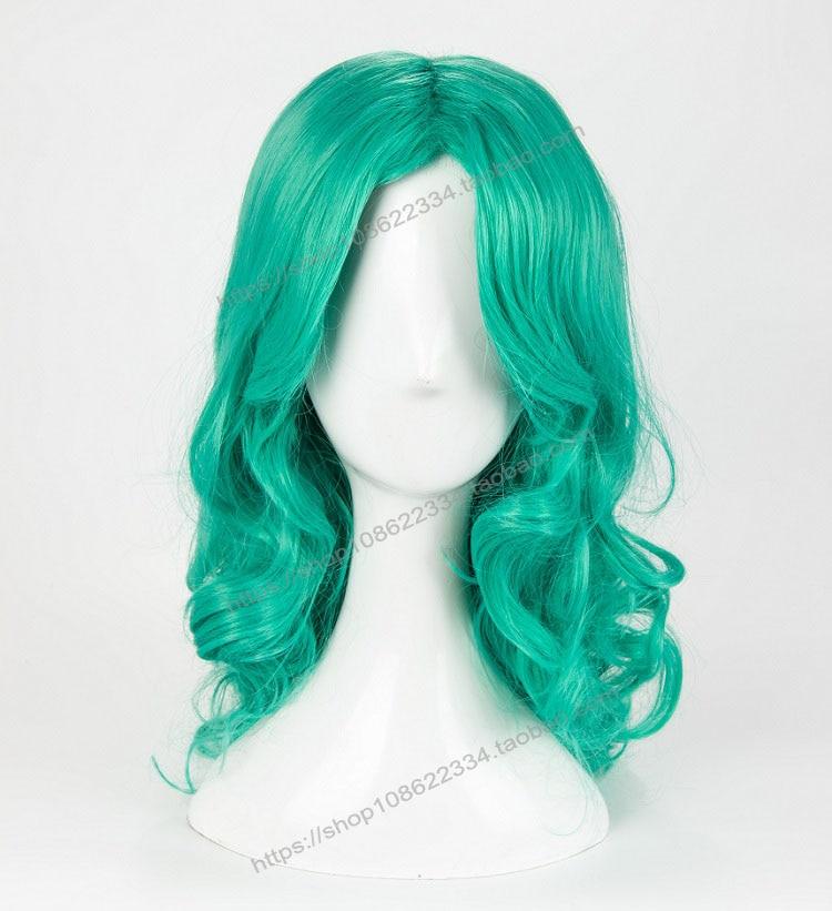 Sailor Moon Kaiou Michiru Green Wig Cosplay Halloween Role Play Facial Hair