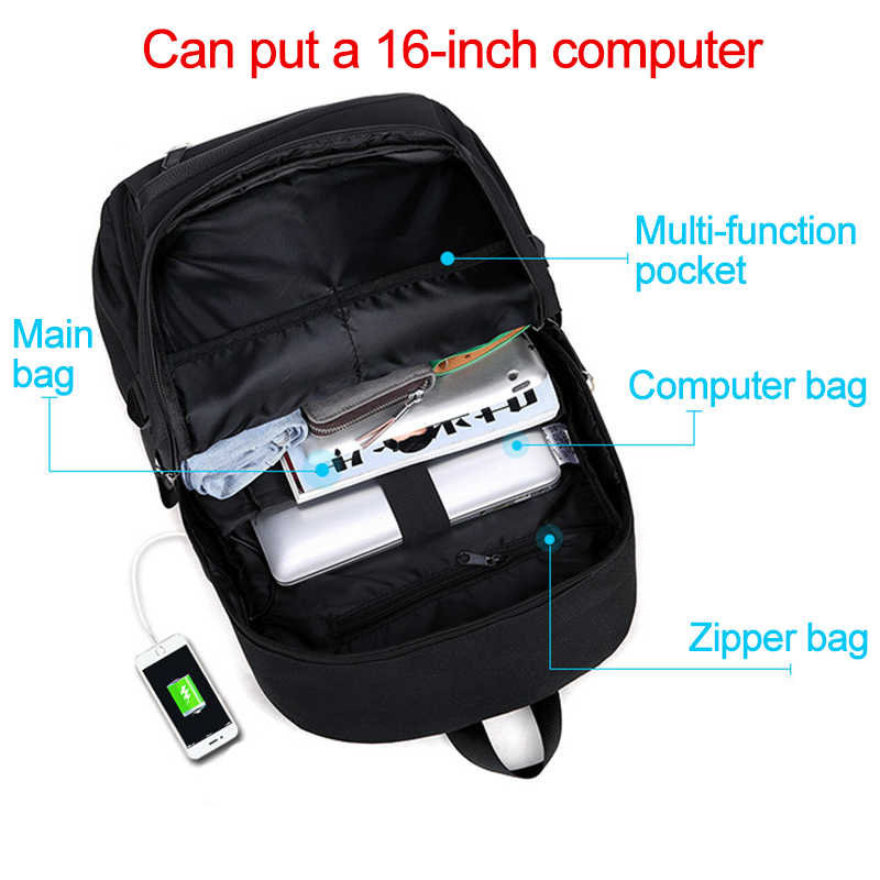 Öğrenci okul sırt çantası 3D Işık Animasyon USB Şarj okul çantası Genç erkek için anti-hırsızlık çocuk sırt çantası okul çantaları