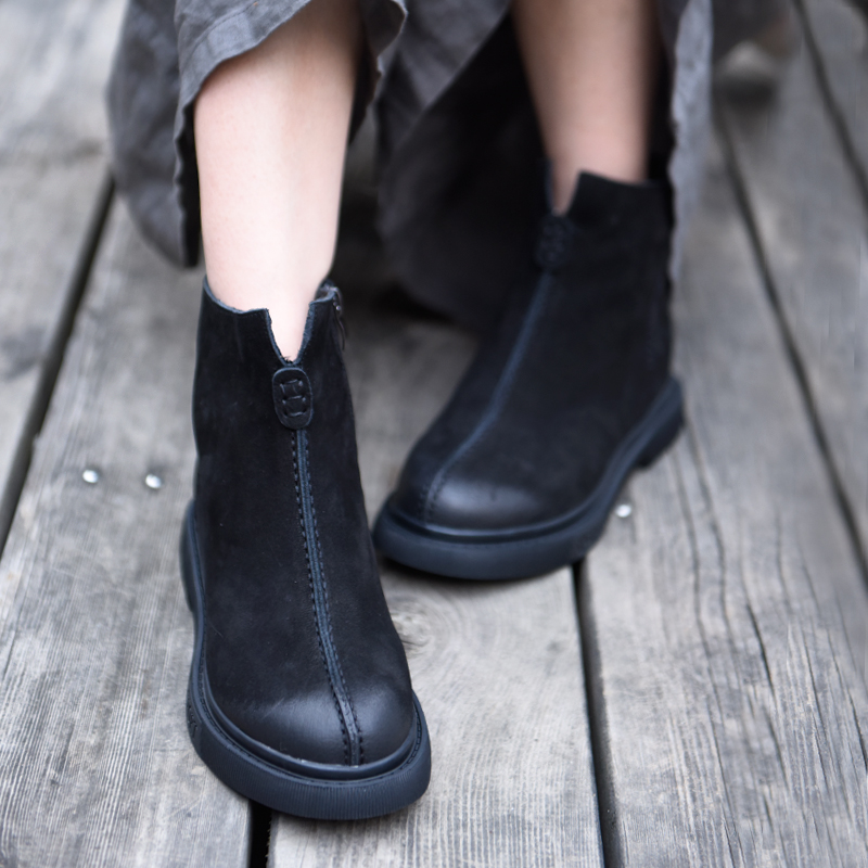 Artmu Original Ankle Boots 2019 New Soft Womens Comfortable Flat Genuine Leather Handmade 6653
