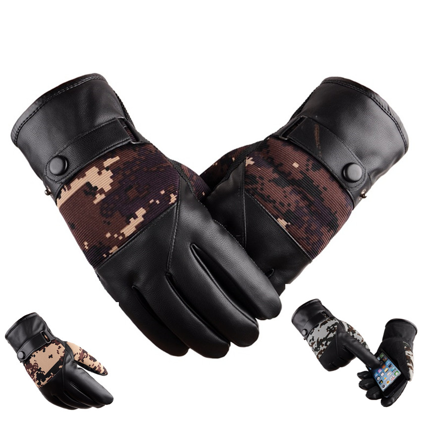 Touch Screen Winter Keep Warm Gloves Male Outdoor Sports Riding Antiskid Warmth Skiing Windproof Cotton Gloves Camouflage YF53