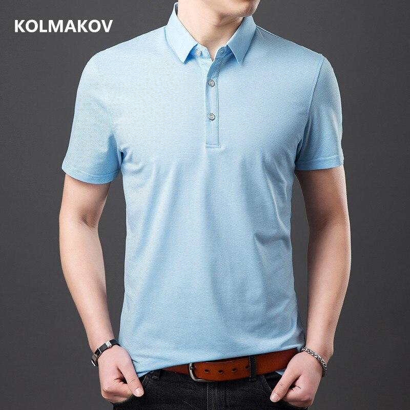 2019 summer Men's stripe Breathable  Polo shirts Mens high quality short sleeves Polo shirt men Blue Green size M-3XL