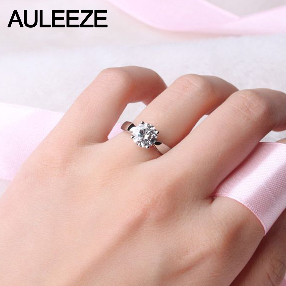 Classic Prong Setting 9K White Gold Wedding Ring 1CT Simulated ...