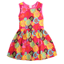 2017 Hot Band Sunflower Kids Girls Dress Summer Style Sleeveless Princess Floral Lace Dresses For Girls