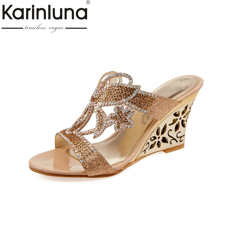 Big size 32-43 Women Rhinestone Sandals Flower Cutout Wedge High Heel Shoes Open Toe Platform Summer Flip Flops 2016 shoes women 2017 summer new sweet buckle open toe wedge sandals high heeled shoes platform sandals size31 32 33 41 42 43