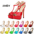 Women Platform High Heel Sandals Sexy Peep Toe Ankle Strap Stilettos Women Pumps T-Strap Party Wedding Shoes