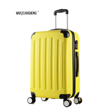 24 inch Classic striped patch Trolley suitcase/rolling spinner wheels Pull Rod luggage/Women Girl traveller case boarding bag
