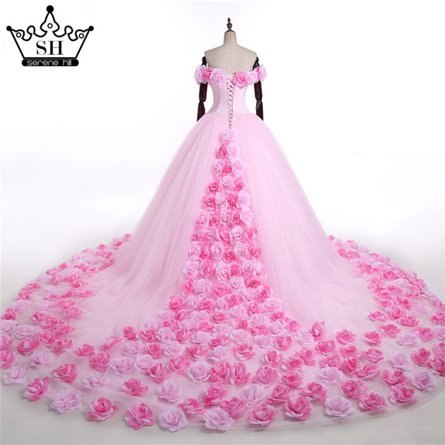 2017 Pink Cloud Flower Rose Wedding Dresses Long Tulle Puffy Ruffle Robe De Mariage Bridal Gown