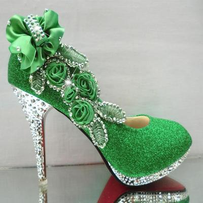 Glitter bride wedding shoes sexy high heels shallow mouth shoes Crystal women Pumps lady party shoes green single shoes  34-41 shoes women high heels sexy wedges platforms glitter diamond shoes wedding shoes rhinestone heels party shoes pumps