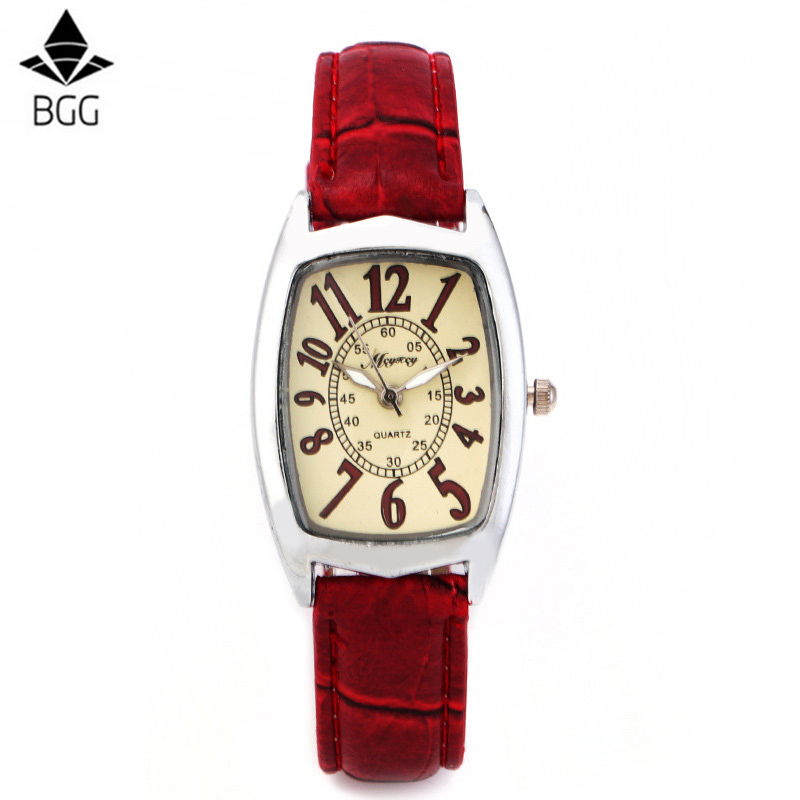 BGG Brand Square Dial Women Watch Röd Strap Quartz Watch Kvinnor - Damklockor