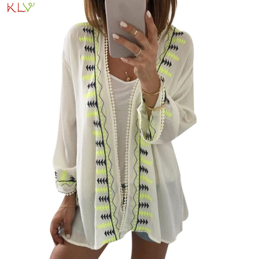 2016 Hot Sale Women Embroidery Chiffon Loose Shawl Kimono Cardigan ...
