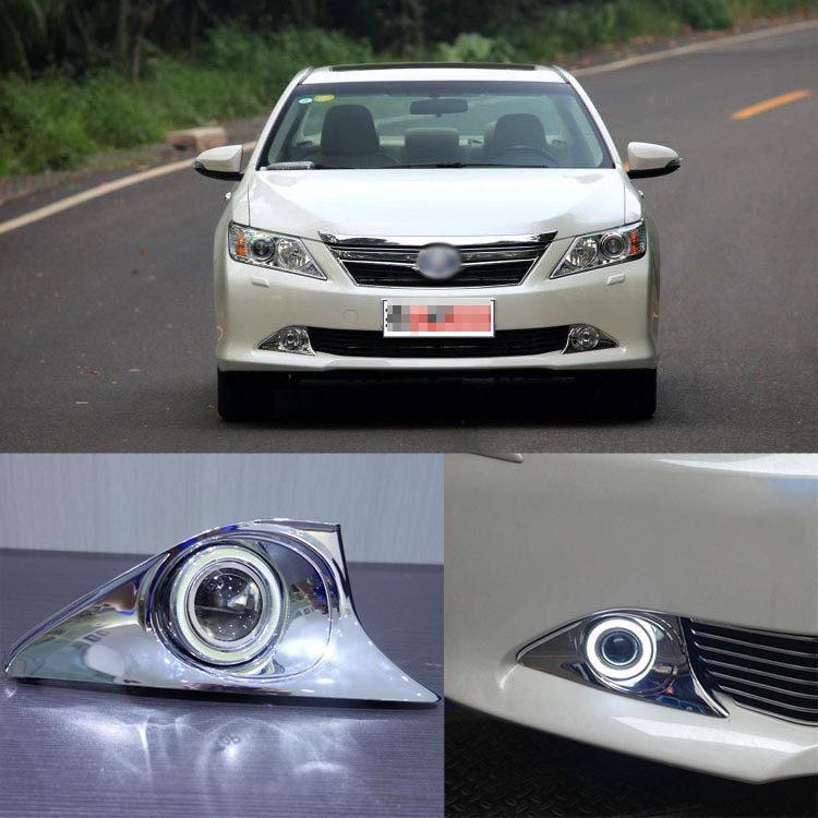 Ownsun Superb 55W Halogen Bulbs COB Fog Lights  Source Angel Eye Bumper Cover For Toyota Camry 2012+ ownsun innovative super cob fog light angel eye bumper cover for skoda fabia scout