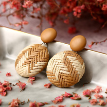 2019 new fashion grass woven earrings ethnic style round pendant bamboo and rattan wedding party gifts