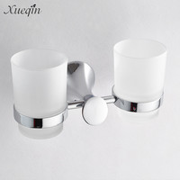 Zinc Alloy Chrome Double Cup Holder Glass Cups Bathroom Accessories Toothbrush Tooth Cup Holders Wash Sets