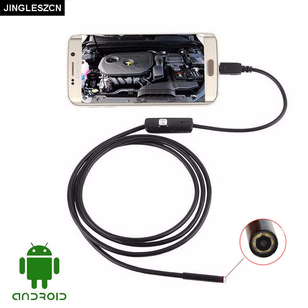 JINGLESZCN 7mm Waterproof USB Endoscope Camera Android 1m 1.5m 2m 3.5m 5m Cable Inspection Borescope Snake Cam PC Windows jingleszcn usb camera endoscope 5 5mm lens waterproof ip67 inspection borescope snake cam 1m 1 5m 2m 3 5m 5m 10m for android pc