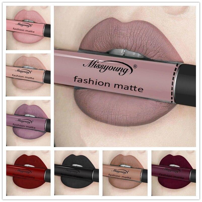 Women Sexy Brand Makeup Lip Stick Matte Lipstick Brown Nude Chocolate Color Liquid -1422
