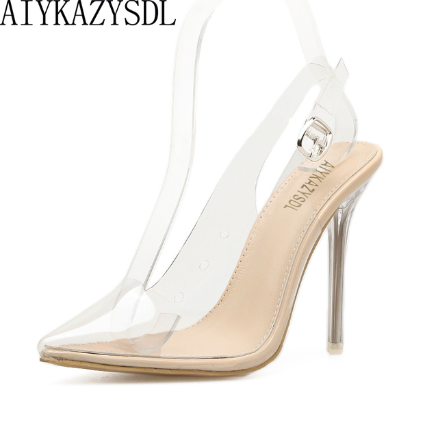 AIYKAZYSDL Women Sandals PVC Pointed Toe Clear Transparent High Heel Pumps  Stilettos 2018 Slingback Wedding Dress Shoes Summer dd16cbb3bed2
