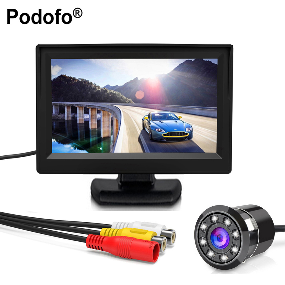 Podofo 12v 24v Car Rear View Wireless Backup Camera Kit 7 Tft Lcd Color Monitor Wiring Diagram 8led Ccd Tanche Vhicule Camra Universel Hd Vue Arrire De Voiture Back Up Inverse Parking