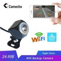 Otomobiller ve Motosikletler'ten Araç Kamerası'de Camecho araç arka görüş kamerası otomobil WiFi kablosuz ters HD 150 derece gece görüş geri görüş kamerası Iphone IOS Android için