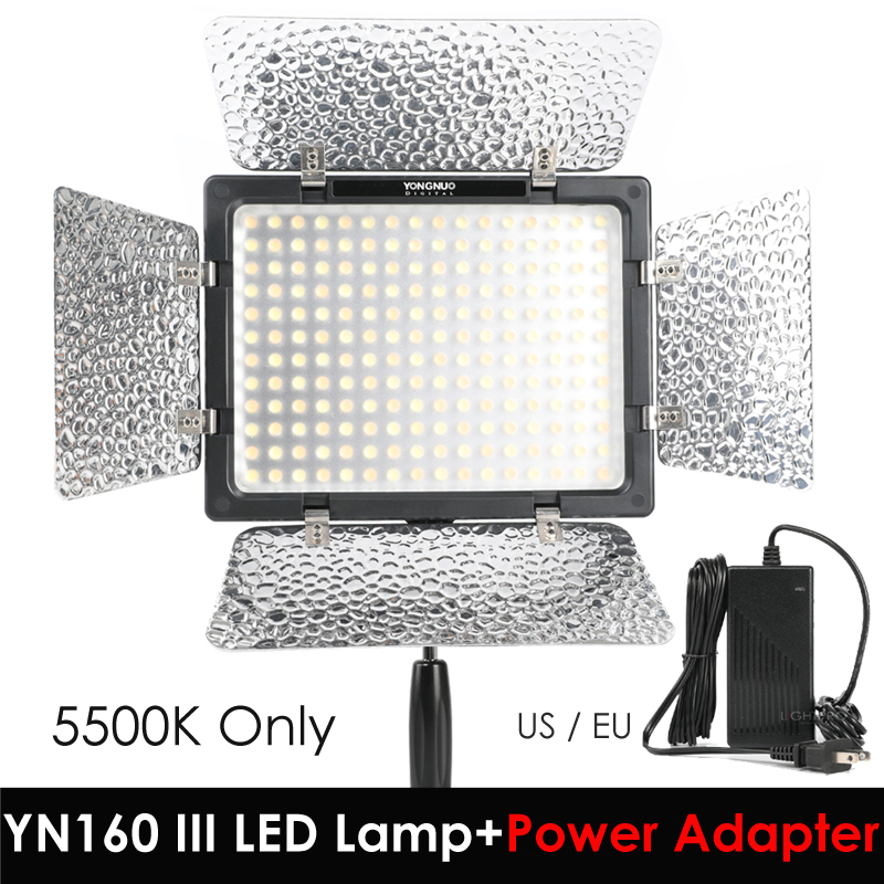 Yongnuo YN160 III 5500K CRI95 160 LED Video Light with AC DC Power Adapter for Canon Nikon Sony DSLR & Camcorder ac power adapter dc 8 4v 1 5 1 7a original for sony camera camcorder ac l200b l25b lcc77