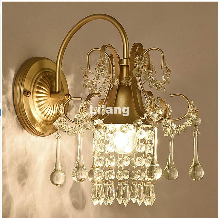 European Style K9 Art Decora Golden/SilverAC Crystal Wall Lamp Bedroom Home Wall Sconce Lighting 100% Guaranteed Free Shipping european style crystal droplight 15 heads k9 crystal with free shipping