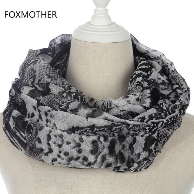 FOXMOTHER New Fashion Women Winter Black Snake Crocodile Scarves Snood  Shawl Foulard Femme Scarf Ladies Gifts 7b9407f6c06