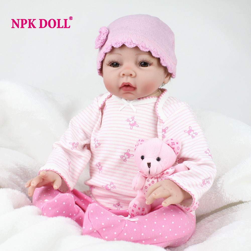 NPKDOLL Fashion 22 Inch 55CM Reborn Babies Soft Silicone Cute Doll Baby Born Handmade Lifelike Toys Fit For Children Dolls Gift 22 inch 55cm baby reborn silicone dolls lifelike doll reborn babies for children s toys fashion sky blue set doll