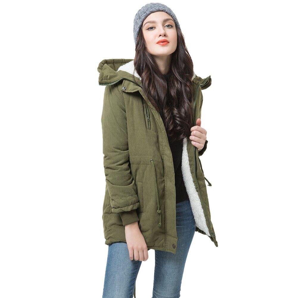 Winter Frauen Fleece Parka Mantel Warmen Mantel Hoodie Mantel Lange Daunenjacke Armee-grün Jaqueta Feminina Inverno Warm Abrigos Mujer