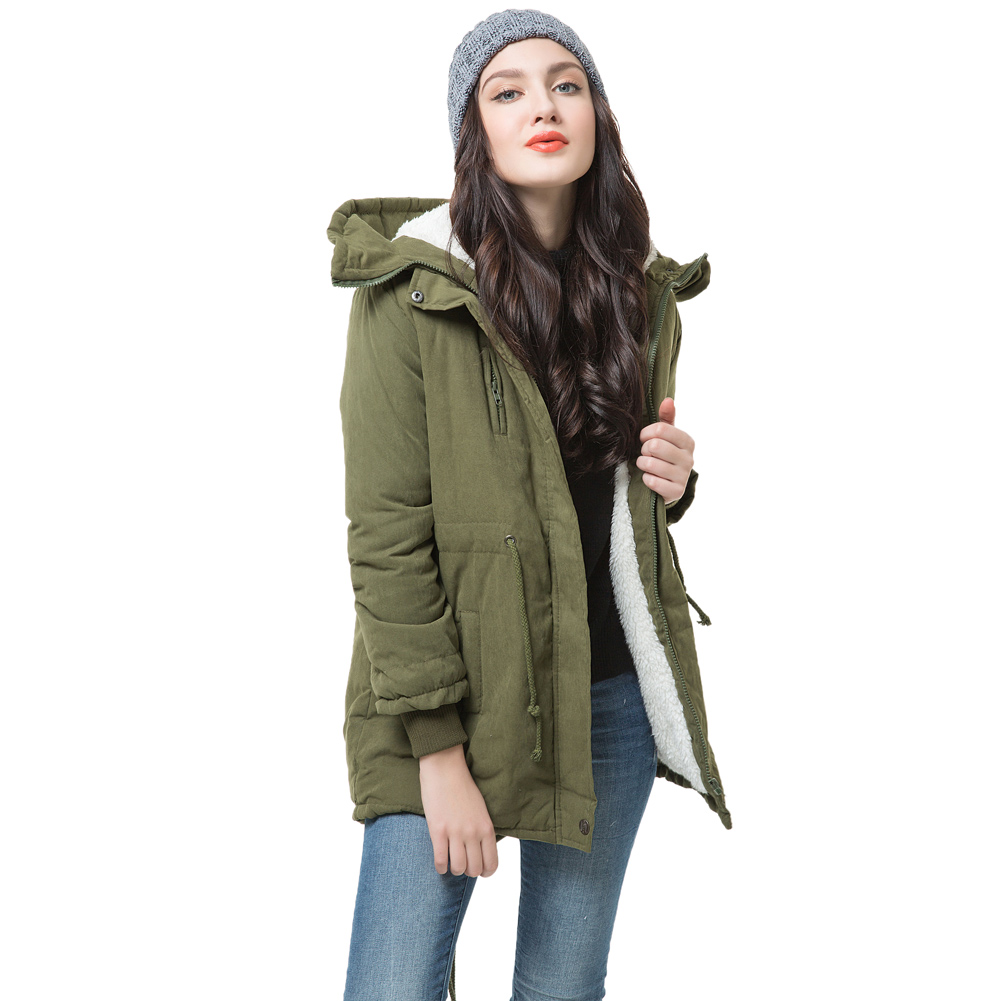 Winter Women Fleece   Parka   Coat Warm Coat Hoodie Overcoat Long Down Jacket Army Green Jaqueta Feminina Inverno Warm Abrigos Mujer