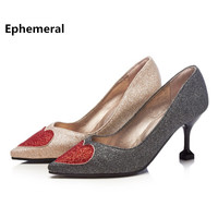 Woman Party Wedding Shoes 2018 Closed Toe Love Heart Bling Pumps Zapatos Femeninos Mujer Plus Size
