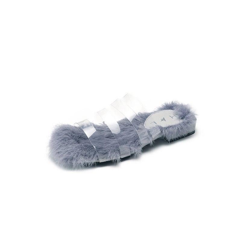 Women Summer Fur Slippers Transparent Slides Real Rabbit -8768