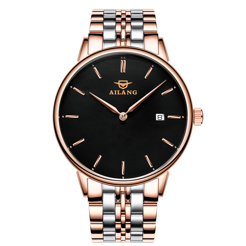 Top luxury Men watch Casual Business simple Waterproof Gold Stainless steel Wrist watch Men Calendar Automatic Mechanical Watch s3 e600mm 0 190ohm float switch fuel water oil liquid tank motion level sensor rod for auto boat marine car yacht accessories