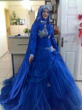 Vintage Long Sleeve Stunning Wedding Dresses Lace Muslim Bridal Gowns With Hijab Royal Blue Long Train Plus Vestidos De Novias